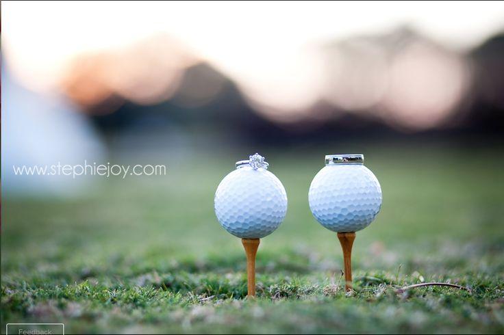 Golf course wedding ring shot