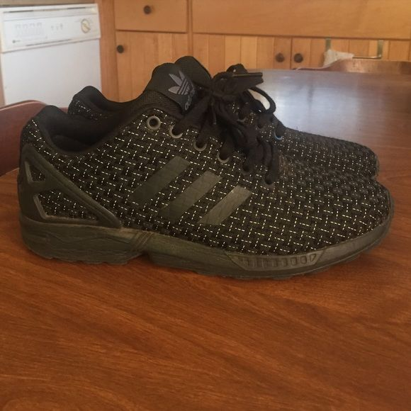 Adidas zx Flux All black woven 3m adidas zx flux size 9 great comfortable shoe Adidas Shoes Sneakers