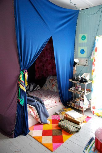 with the help of my friends, we constructed this fort in my bedroom.