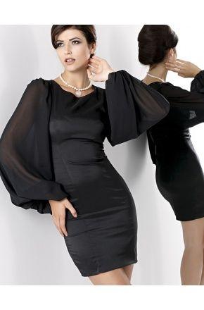 Wieczorowa sukienka z szyfonowymi rękawami KM11