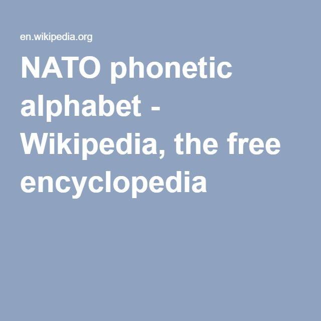 NATO phonetic alphabet - Wikipedia, the free encyclopedia