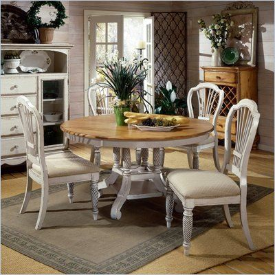 Hillsdale Wilshire 7 Piece Round Dining Table Set in Pine and Antique White Finish - 4508DTBRNDC7