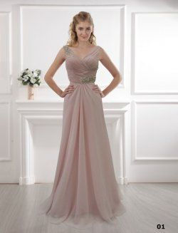 Terrain de robe rose épaules longue robe à encolure en V robe