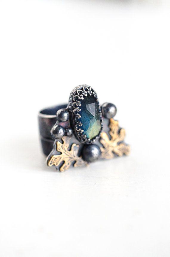 Sterling Labradorite Ring Oak Leaves Lady of by ShopHedgerowRose, $175.00