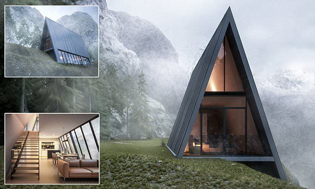 This triangular house with a glass balcony is nestled into a CLIFF