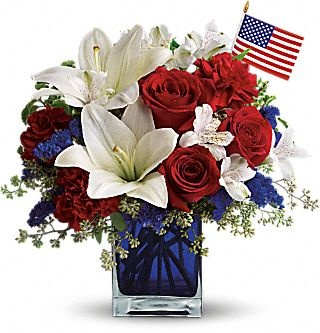 12 best images about patriotic arrangements on pinterest for Red white blue flower arrangements