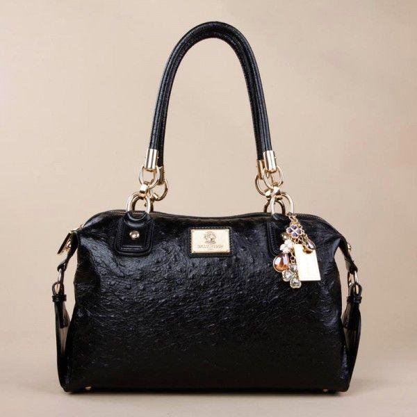 Black Leather Double Handle Shoulder Bags For Women - Handbags - handbag shop