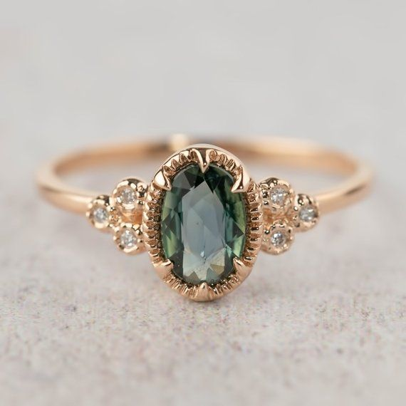 Pick your gem | 1ct Peacock green sapphire ring, Oval teal sapphire ring, Green sapphire, vintage feel, solid 14k gold rose gold white gold