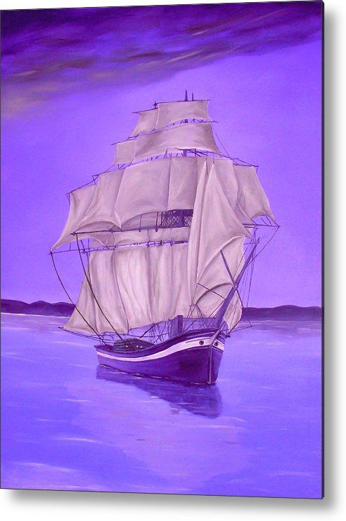 Metal Print,  purple,lavender,nautical,marine,sailboat,ocean,scene,sea,water,calm,voyage,decor,decorative,beautiful,image,fine,oil,painting,contemporary,scenic,modern,virtual,deviant,wall,art,awesome,cool,artistic,artwork,for,sale,home,office,decor,decoration,decorative,items,ideas