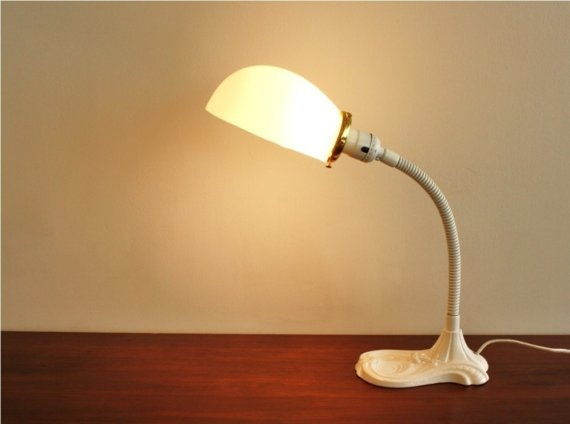 Refurbished white Victorian desk lamp with glass shade