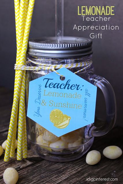 Lemonade & Sunshine Teacher Appreciation Gift with Free Printable - I Dig Pinterest