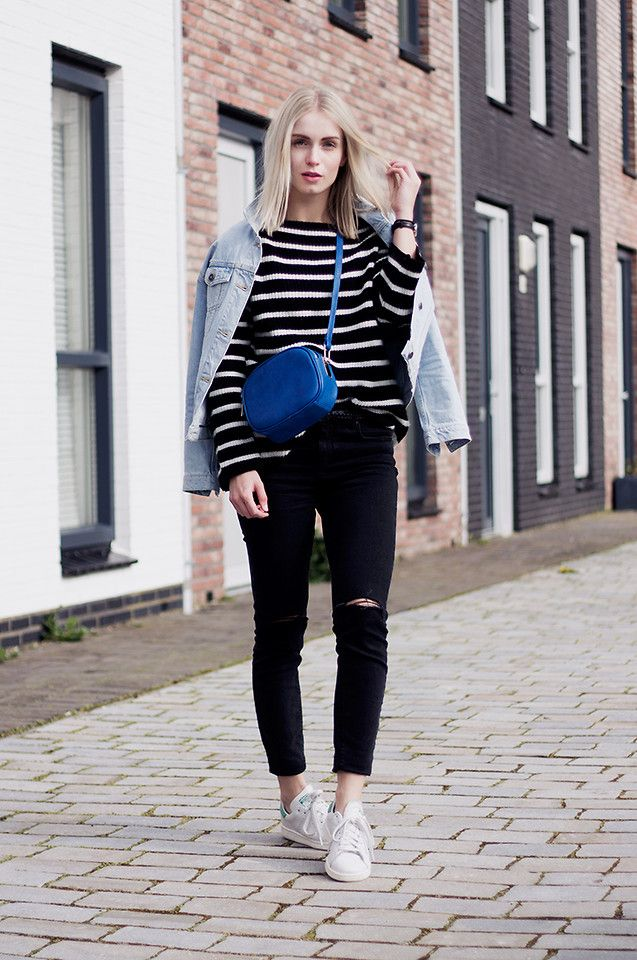 Anita VDH - Subdued Black Ripped Ankle Jeans, Subdued Oversized Denim  Jacket, Adidas Stan