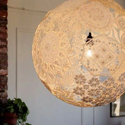 doilie lamp: Idea, Lights Fixtures, Lamps Shades, Lace Doilies, Lace Lanterns, Doilies Lamps, Lace Lamps, Doilies Lights, Lampshade