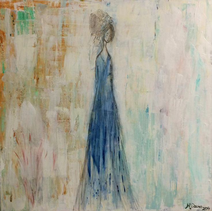 Lady in Blue - Acrylic, Ink and Charcoal - 36 inch x 36 inch