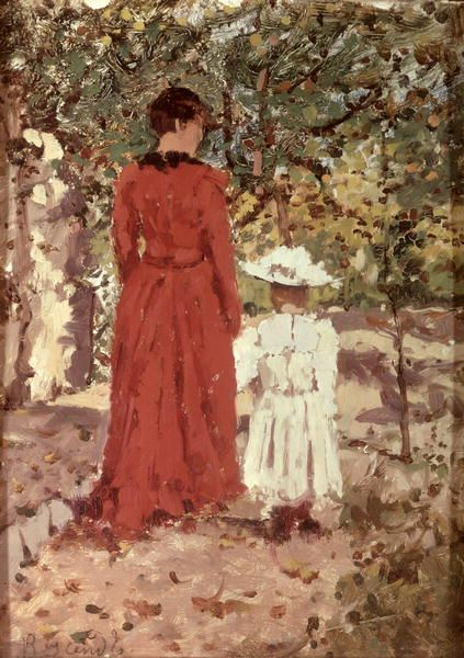 Woman and Child in the Garden, 1900 Enrico Reycend