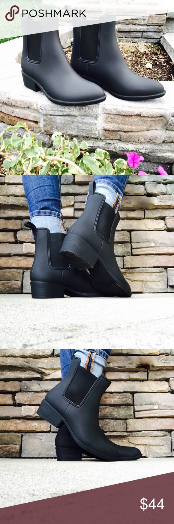 Matte Chelsea Rain Boot Casual Black Ankle Bootie •Brand New in Box • Waterproof •Matte Black Chelsea Rain Boots • All materials are vegan • Rubber • Stretchy Elastic to make Boot easy to put on and take off • Shoe Runs Small. Suggested to Order a Size Larger• Feel free to ask questions!•  www.thefairyden.com  Shoes Ankle Boots & Booties
