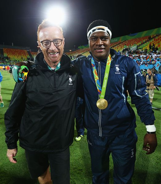 #RIO2016 Gold medalists Ro Dakuwaqa of Fiji and Fiji head coach Ben Ryan celebrate after the medal ceremony for the Men's Rugby Sevens on Day 6 of the Rio...
