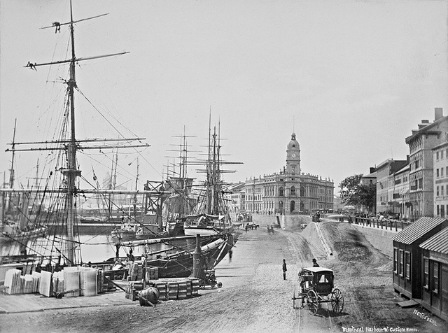Montreal harbour near the Custom House, Quebec, c.1865-1875. #vintage #Canada #Victorian #streets