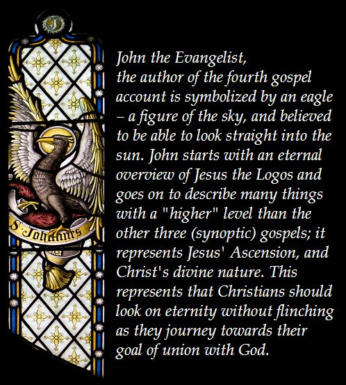 Symbols of the Four Evangelists: Matthew (winged man), Mark (lion), Luke (ox) and John (eagle)