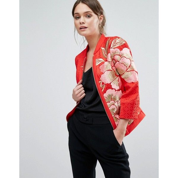 Ted Baker Herrne Bomber Jacket ($175) ❤ liked on Polyvore featuring outerwear, jackets, orange, floral bomber jacket, patterned bomber jacket, orange jacket, tall jackets and zipper jacket