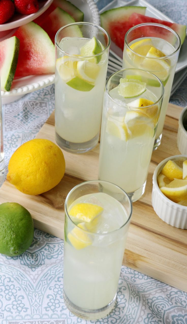 Rum Lemonade- super simple! And delicious! You just need rum, lemonade, lemon concentrate, lime, and a lemon wedge to garnish. (sp)