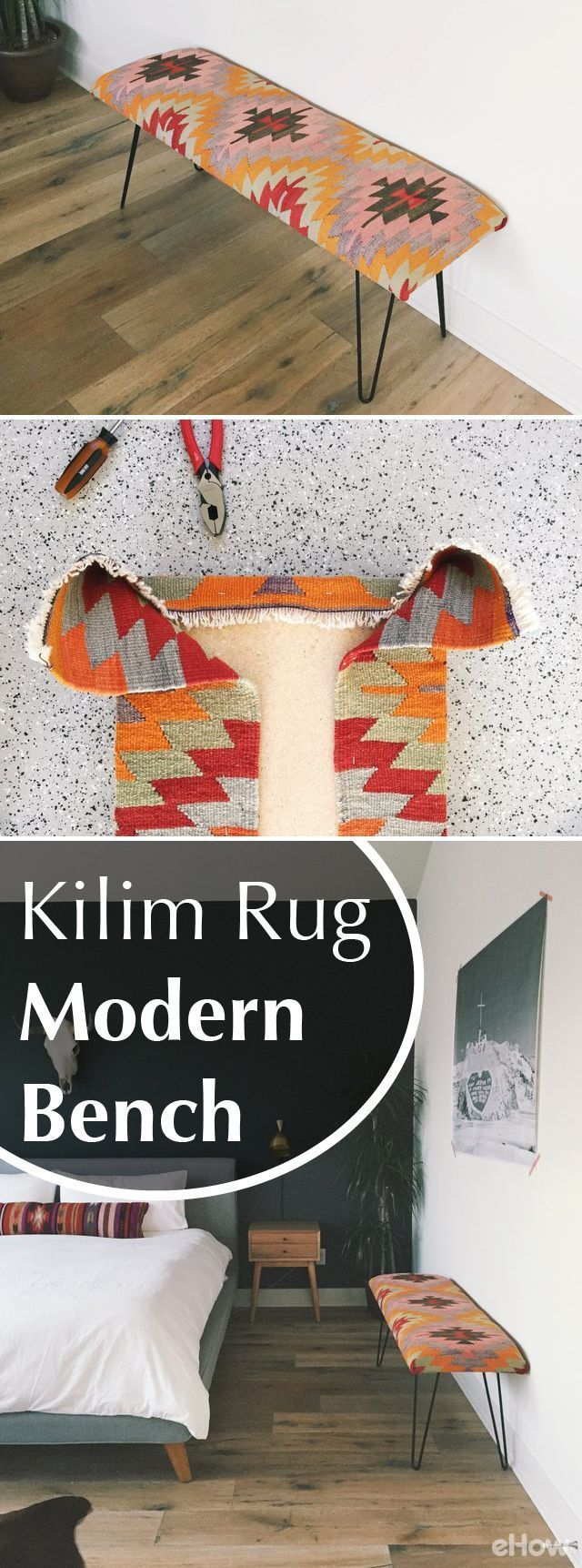 This is a quick and easy DIY for a mid-century modern-style bench using a cheery colored kilim rug! We love the way the vibrant colors of the fabric really brightened up our nearly neutral bedroom, making the bench the perfect statement piece. With less t