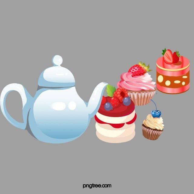 رسم إبريق الشاي والكعك ألوان مائية الشاي بعد الظهر كيك Png وملف Psd للتحميل مجانا Tea Cakes Tea Pots Tea