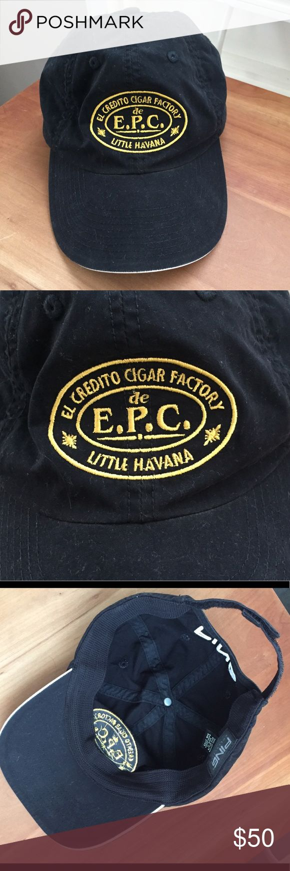El Credito Cigar Factory golf hat by PING, NWOT! El Credito Cigar Factory golf hat by PING, NWOT!! Rare and impossible to find for sale anywhere.  Super cool hat with famous cigar shop logo in golden yellow on front and PING logo in white on back.  PING is known for making high quality golf apparel.  Hat is fully adjustable with a Velcro closure in back.  Great material, 70% cotton, 30% Rayon.  One size fits all. PING Accessories Hats