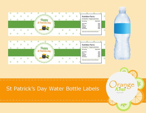 St Patrick's Day Water Bottle Labels St by OrangeKiwiDesign