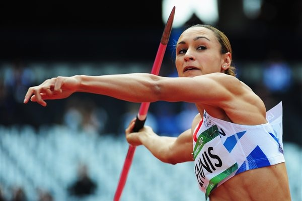 Women's Heptathlon Winner, Jessica Ennis of Great Britain competes in the  Javelin Throw