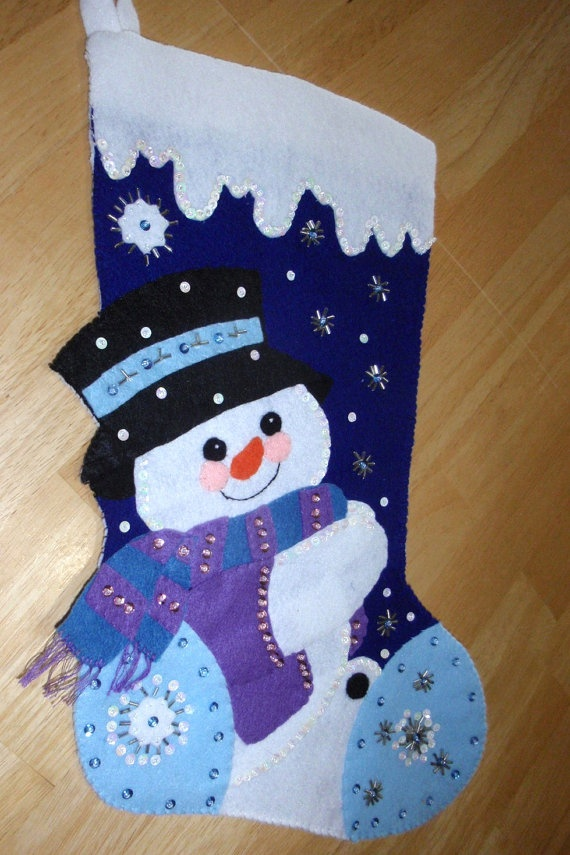 Snowman Christmas Stocking Beaded Christmas by Beadgarden55, $55.00
