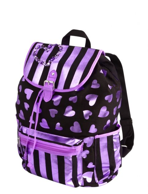 Large Metallic Hearts Rucksack | Girls Fashion Bags & Totes Accessories |  Shop Justice - 231 Best Justice For Girls Images On Pinterest