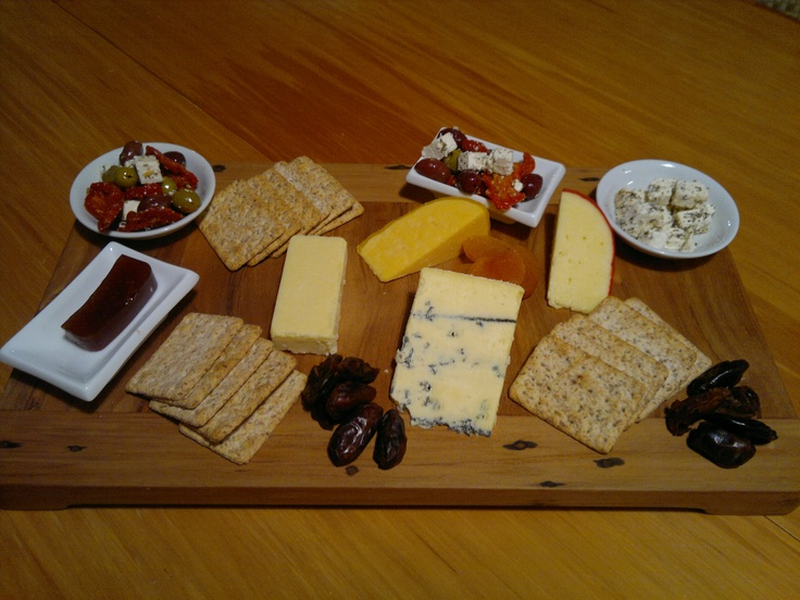 Cheeseboard - Whitestone Cheeses from the Mainland, New Zealand.  The paste is plum. The dried fruits include apricots and dates.