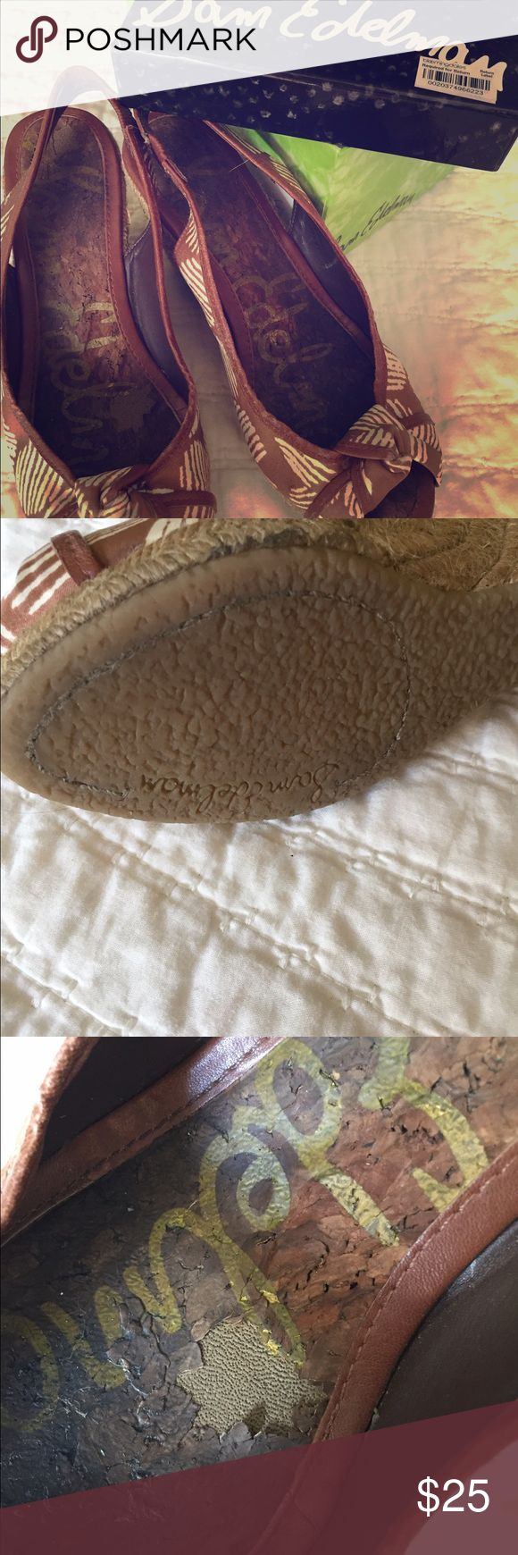 Sam Edelman espadrilles wedges Cute espadrilles! Neutral tones, really comfy. A little worn as you can see on the inside and on the back. Still have a lot of wear in them though! Sam Edelman Shoes Espadrilles