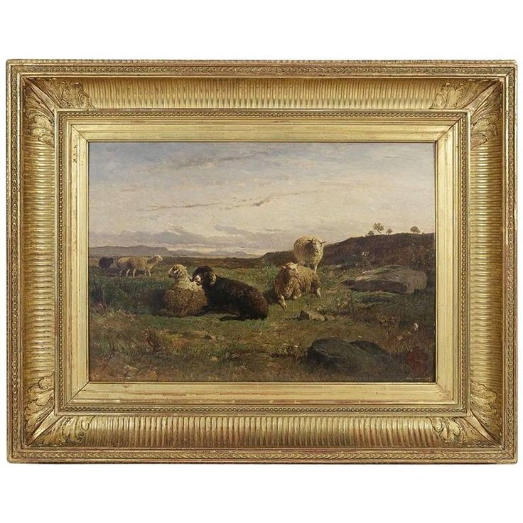 Oil on Panel, Barbizon School « The Sheeps » sign by William Baird Circa 1880 1