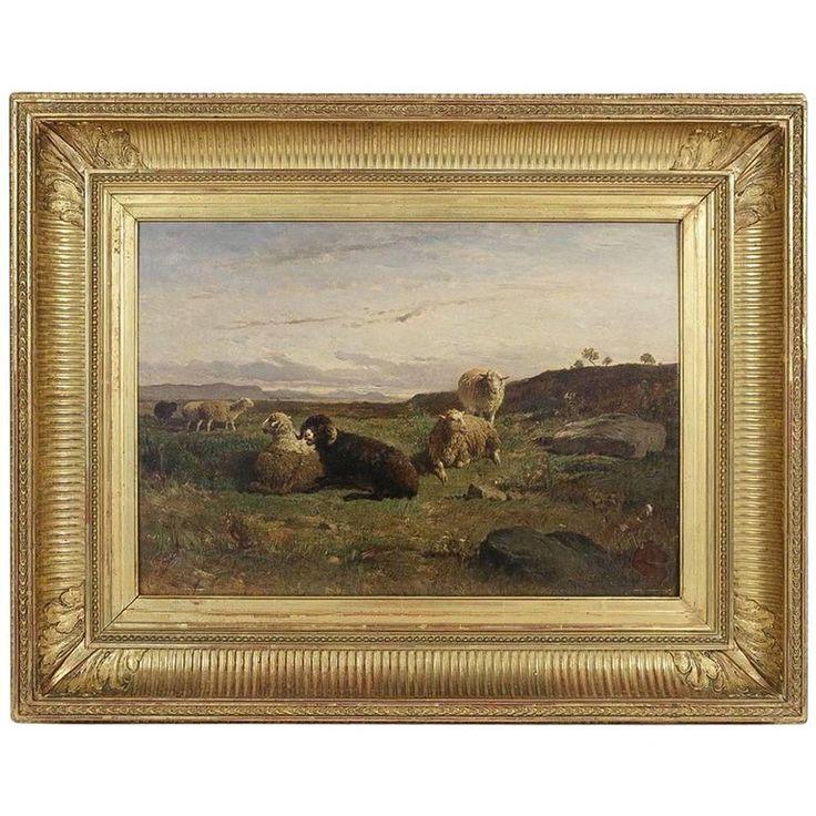 Oil on Panel, Barbizon School «The Sheeps» sign by William Baird Circa 1880 1