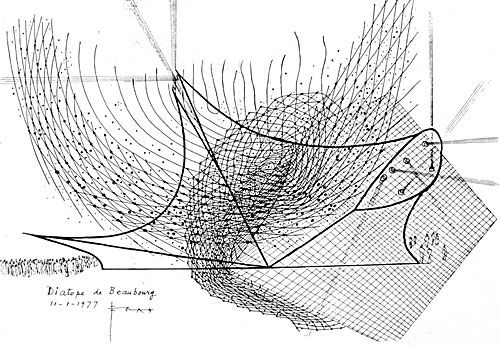 Xenakis´s sketch of the Diatope, a combination of sound and light effects in a pavilion he designed himself especially for this purpose (Paris/Bonn 1978-1979)
