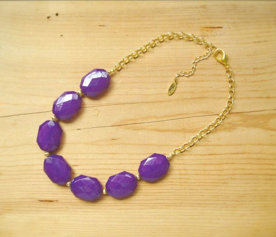 Purple statement necklace, eggplant purple single strand necklace
