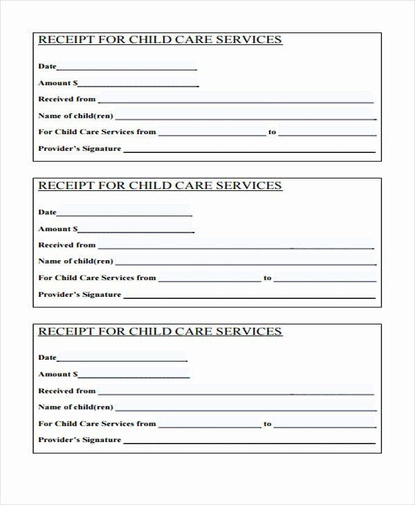 Receipt For Child Care Services Inspirational Free 40 Printable Receipt Forms In Pdf Receipt Template Free Receipt Template Financial Plan Template