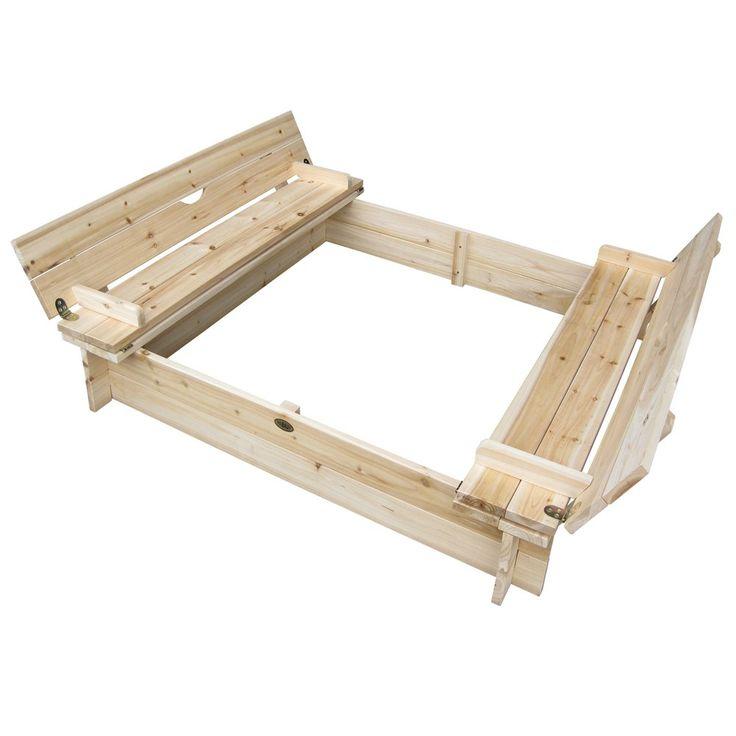 habau 3022 sandkasten mit deckel und bank 120x120x20 cm garten outside backyard. Black Bedroom Furniture Sets. Home Design Ideas