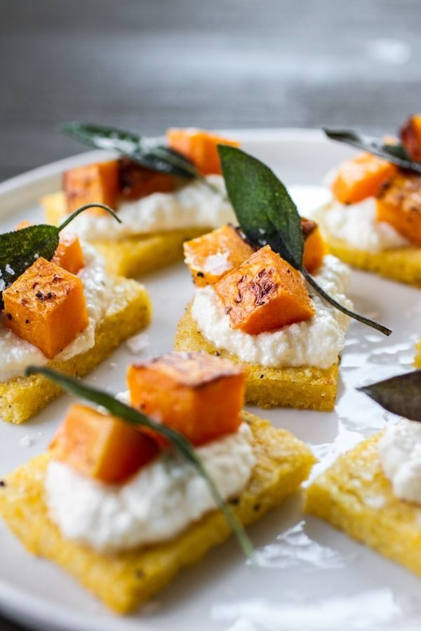 Polenta crostini with butternut squash, ricotta and sage.