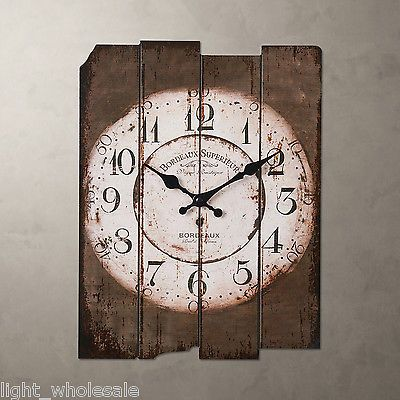 """Vintage Large H15"""" Country Light Brown Wall Clock Chocolate Family Wood New"""