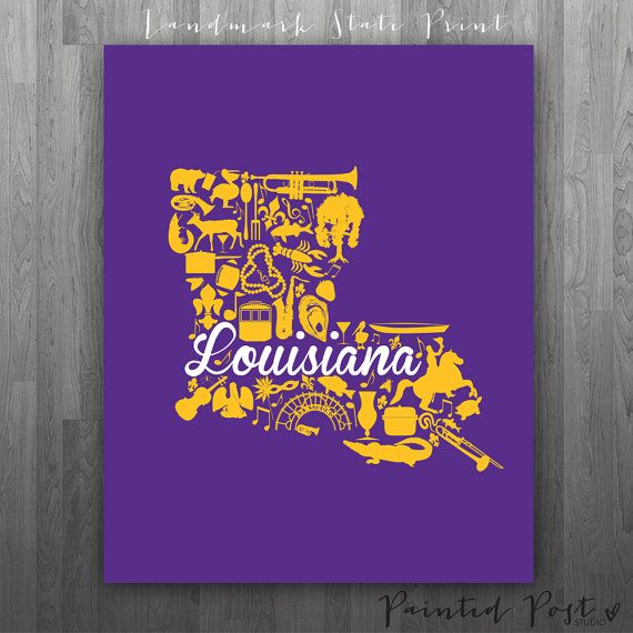 Baton Rouge Louisiana Landmark State Print Giclée by PaintedPost, $15.00 -  #paintedpoststudio - Louisiana State University - LSU - Geaux Tigers- What a great and memorable gift for graduation, sorority, hostess, and best friend gifts! Also perfect for dorm decor! :)
