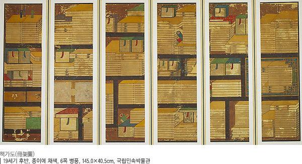 책가도 19세기 후반, 종이에 채색, 6폭 병풍, 국립민속박물관