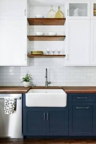 Image Result For Navy Kitchen Cabinets