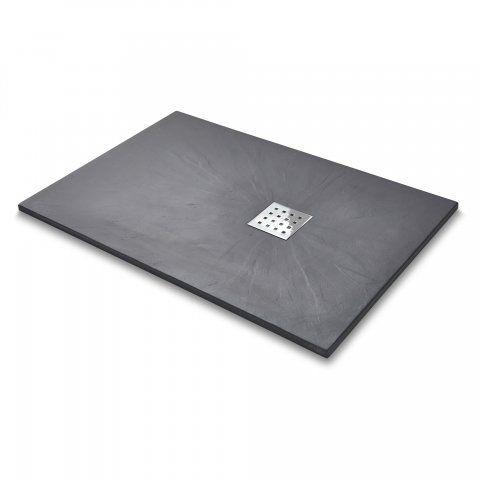 1200 x 800mm Rectangular Shower Tray & Chrome Waste in Slate Effect - soak.com £203