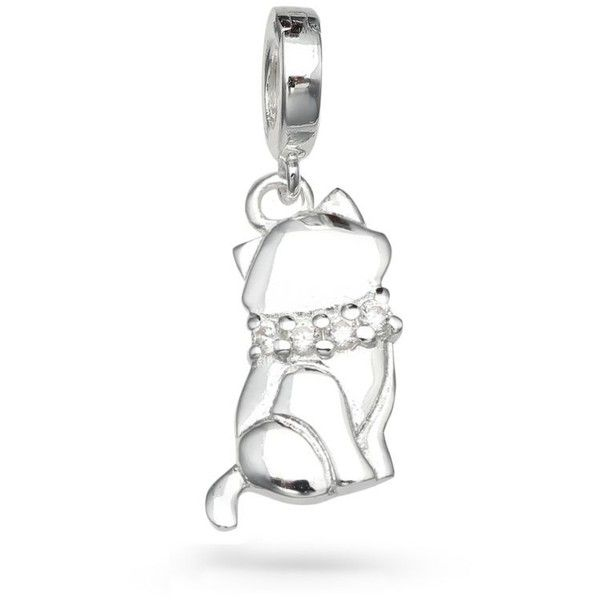 Belk Silverworks  Sterling Silver Wishes Cubic Zirconia Cat Charm ($16) ❤ liked on Polyvore featuring jewelry, pendants, silver, cubic zirconia jewelry, sterling silver cat charm, cz jewellery, sterling silver cubic zirconia jewelry and sterling silver jewelry