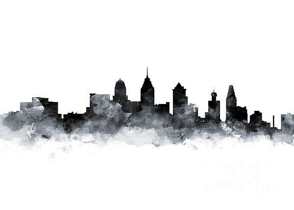 Philadelphia Skyline Mixed Media By Monn Print Philadelphia Skyline Art Philadelphia Skyline City Skyline Art