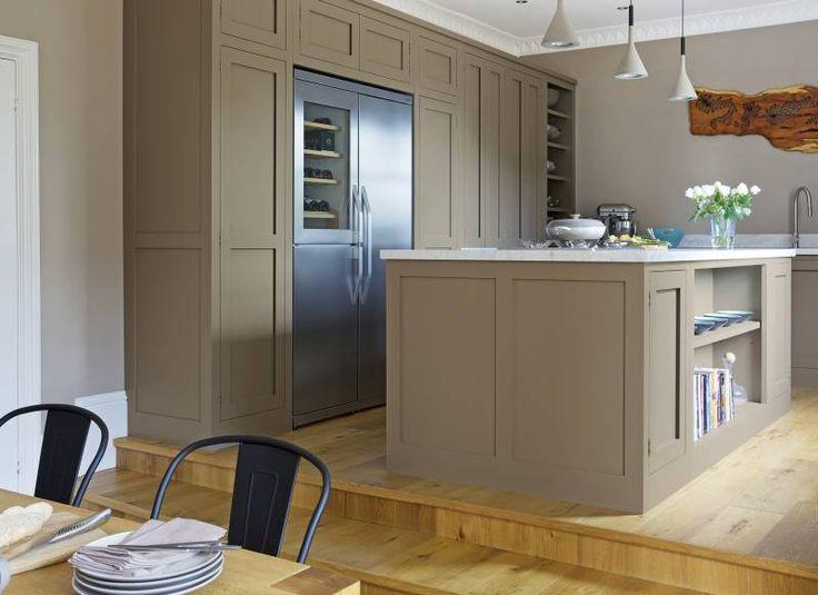 Modern Shaker-style kitchen on a raised platform