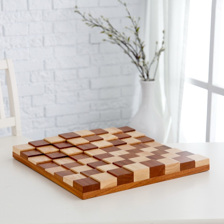 3d Tiered Solid Sapele Wood Chess Board Chess Boards